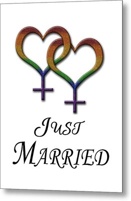 Just Married Lesbian Pride Metal Print by Tavia Starfire