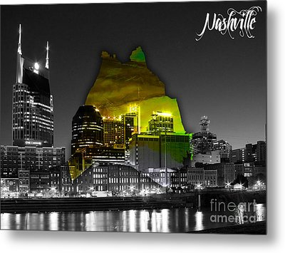 Nashville Skyline And Map Watercolor Metal Print by Marvin Blaine