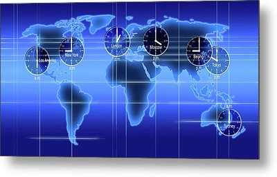 World Map Illustration With Time Zones Metal Print by Alfred Pasieka
