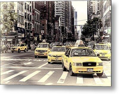 6th Avenue Nyc Yellow Cabs Metal Print by Melanie Viola