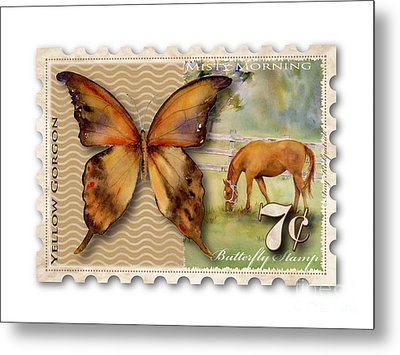 7 Cent Butterfly Stamp Metal Print by Amy Kirkpatrick