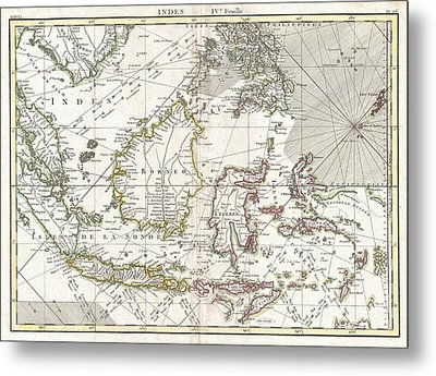 770 Bonne Map Of The East Indies Java Sumatra Borneo Singapore Metal Print by Paul Fearn