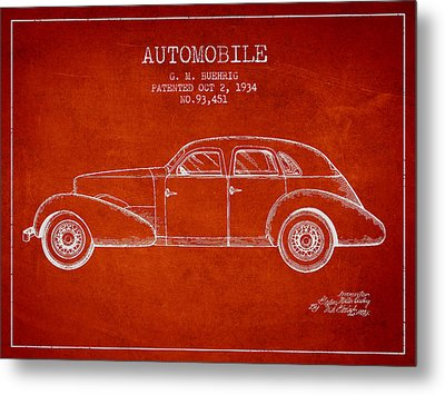 Cord Automobile Patent From 1934 Metal Print by Aged Pixel