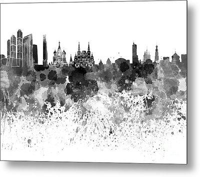 Moscow Skyline White Background Metal Print by Pablo Romero