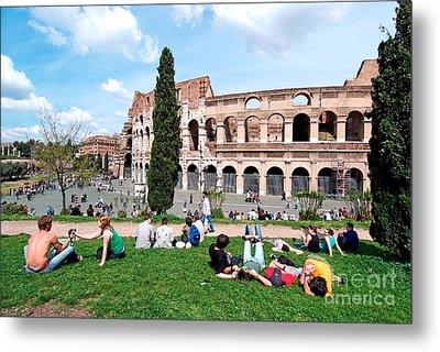 Outside Colosseum In Rome Metal Print by George Atsametakis