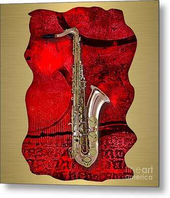 Saxophone Collection. Metal Print by Marvin Blaine