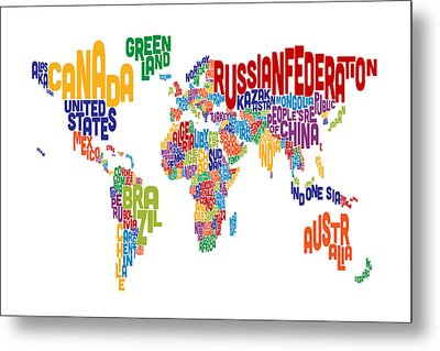 Text Map Of The World Metal Print by Michael Tompsett