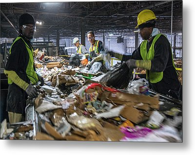 Waste Sorting At A Recycling Centre Metal Print by Peter Menzel