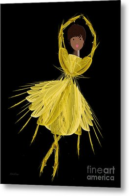 8 Yellow Ballerina Metal Print by Andee Design