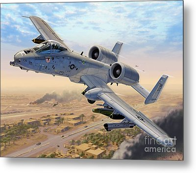 A-10 Over Baghdad Metal Print by Stu Shepherd