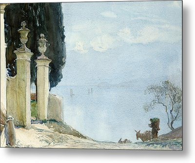 A Blue Day On Como Metal Print by Joseph Walter West