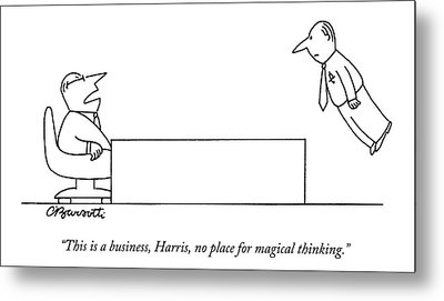 A Boss Behind A Desk Berates His Inferior Metal Print by Charles Barsotti