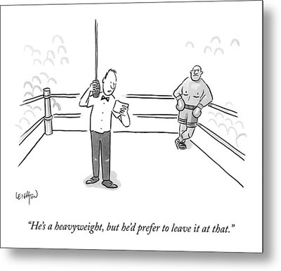 A Boxing Referee Makes His Introductory Metal Print by Robert Leighton