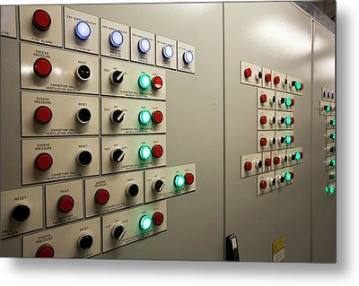 A Building Control Panel Metal Print by Ashley Cooper
