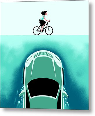 A Car Emerges From The Deep Toward A Bicyclist Metal Print by Christoph Niemann
