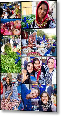 A Collage Of The Fresh Market In Kusadasi Turkey Metal Print by David Smith