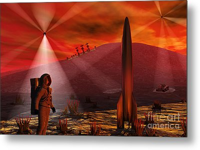 A Colony Being Established On An Alien Metal Print by Mark Stevenson