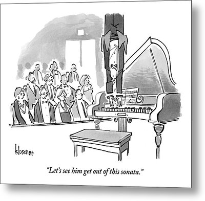 A Concert Pianist Hangs Upside Metal Print by John  Klossner