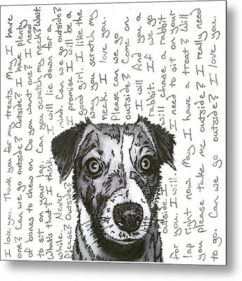 A Conversation With A Jack Russell Terrier Metal Print by Salvadore Delvisco