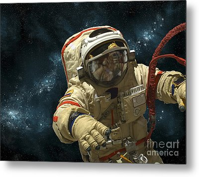 A Cosmonaut Against A Background Metal Print by Marc Ward