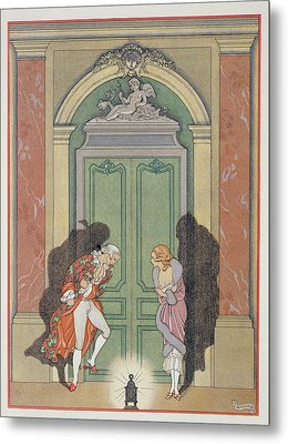 A Couple In Candlelight Metal Print by Georges Barbier