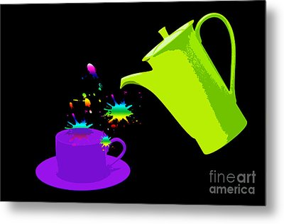 A Cup Of Rainbow Metal Print by Michelle Orai