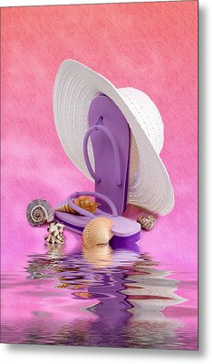 A Day At The Beach Still Life Metal Print by Tom Mc Nemar