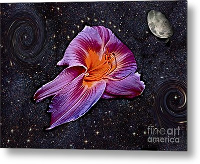 A Daylily Bloom Rockets To The Moon Metal Print by ImagesAsArt Photos And Graphics