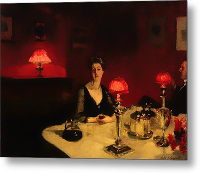 A Dinner Table At Night Metal Print by Mountain Dreams