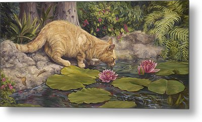 A Drink At The Pond Metal Print by Lucie Bilodeau