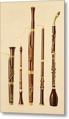 A Dulcian, An Oboe, A Bassoon Metal Print by Alfred James Hipkins