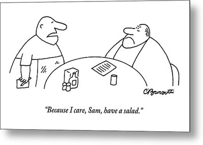 A Fat Waiter Holding A Notepad Comes To Take Metal Print by Charles Barsotti