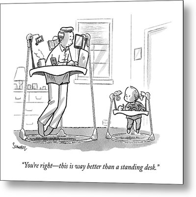 A Father Uses A Standing Babywalker Desk Metal Print by Benjamin Schwartz