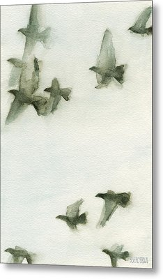 A Flock Of Pigeons 2 Watercolor Painting Of Birds Metal Print by Beverly Brown
