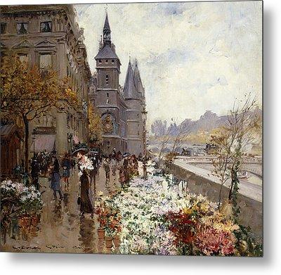 A Flower Market Along The Seine Metal Print by Georges Stein