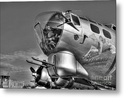 A Flying Fortress Bw Metal Print by Mel Steinhauer