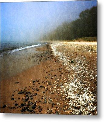 A Foggy Day At Pier Cove Beach 2.0 Metal Print by Michelle Calkins