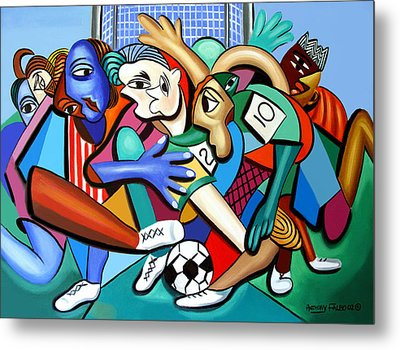 A Friendly Game Of Soccer Metal Print by Anthony Falbo