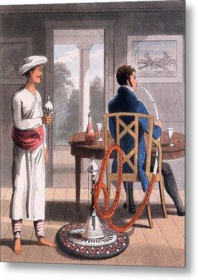 A Gentleman With His Hookah Burdah, Or Metal Print by Charles D'Oyly
