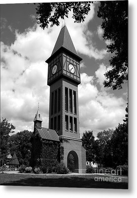 A German Bell Tower Bw Metal Print by Mel Steinhauer