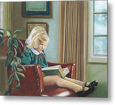 A Girl Reading Metal Print by Nick Payne