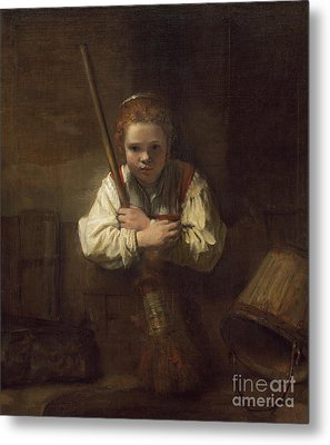 A Girl With A Broom Metal Print by Rembrandt