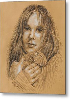 A Girl With The Pet Metal Print by Irina Sztukowski