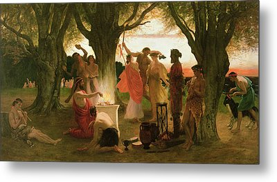 A Greek Festival Oil On Canvas Metal Print by Thomas Ralph Spence