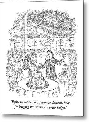 A Groom Speaks To His Bride At A Wedding Metal Print by Edward Koren