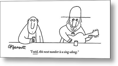 A Guitarist At A Bar Speaks To The Drinker Metal Print by Charles Barsotti
