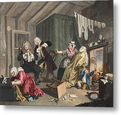 A Harlots Progress, Plate V Metal Print by William Hogarth