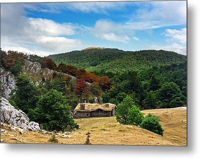 A House In Mountain With Trees And Blue Sky Metal Print by Mikel Martinez de Osaba