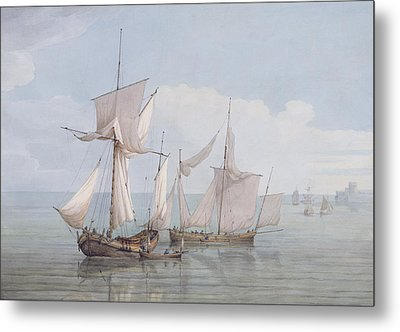 A Hoy And A Lugger With Other Shipping On A Calm Sea  Metal Print by John Thomas Serres