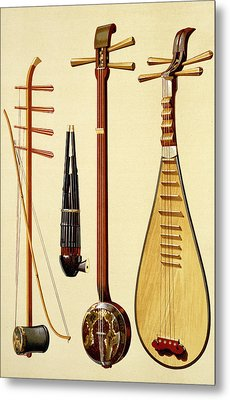A Huqin And Bow, A Sheng, A Sanxian Metal Print by Alfred James Hipkins